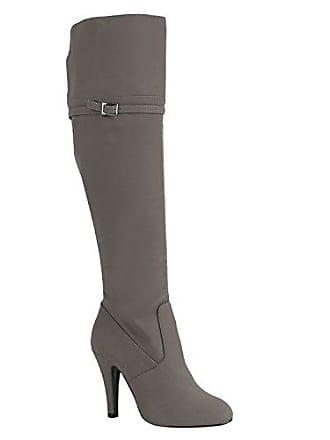 Damen Overknees Jeans Denim Used Look Stiefel High Heels Schuhe 149541 Grau Schnallen 38 Flandell Stiefelparadies 3xYjnfq35