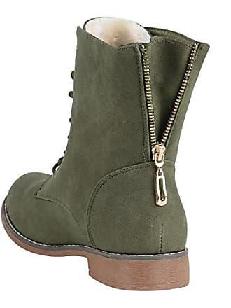 Damen Schnürstiefeletten Leder-Optik Profilsohle Stiefeletten Schuhe 149616 Dunkelgrün Carlet 40 Flandell Stiefelparadies KsJobonxoy