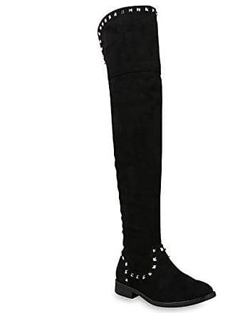 Damen Schuhe Stiefel Overknees Gefütterte Boots Nieten Wildleder-Optik 150767 Schwarz 40 Flandell Stiefelparadies hB6wG5G