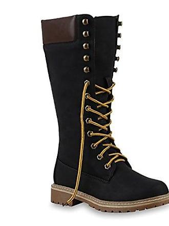 Damen Stiefel Outdoor Boots Schnürstiefel Leder-Optik Schuhe 126936 Schwarz 38 Flandell Stiefelparadies gEJdz