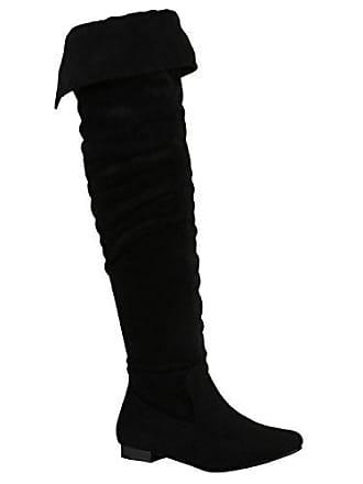 Gefütterte Damen Schuhe Overknees Metallic Winter Stiefel Leder-Optik 156992 Schwarz Brito 38 Flandell Stiefelparadies vJ9WnSl9i