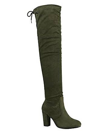 Modische Damen Stiefel Profil Sohle Overknees Block Absatz Schuhe 150321 Dunkelgrün Schleifen 40 Flandell Stiefelparadies wlWjXYE1