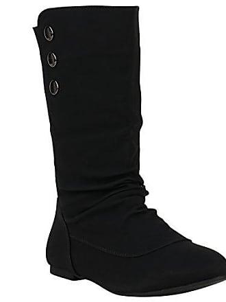 Stylische Damen Stiefel High Heels Gefüttert Schnallen Schuhe 149726 Schwarz Nieten 37 Flandell Stiefelparadies 53KI8KNOE