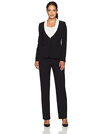 Womens Petite Size Stretch Crepe Pant Suit with Ruffled Collar, Chalk, 8P Tahari by ASL