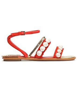 Tory Burch Woman Embellished Fringed Suede And Leather Sandals Coral Size 6.5 Tory Burch 8d73OqP