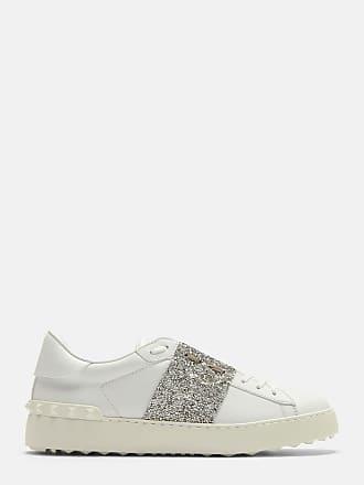 Valentino Garavani Rockstud Untitled Sneaker aus weißem und silbernem Kalbsleder mo3Oh
