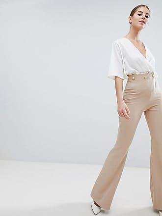 Hose mit weitem Bein und Knopf-Detail - Braun Vesper