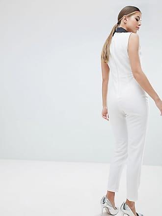 Smoking-Jumpsuit mit kontrastierendem Design - Weiß Vesper