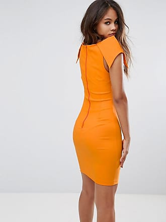 Vespertall Pencil Dress With Origami Shoulders - Tangerine Vesper Tall BJXey