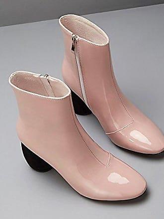 KAFEI Weibliche Kurze Stiefel Retro 8 cm Dick mit Nieten Leder Schnalle, Runder Kopf, Pink, 37 YDA