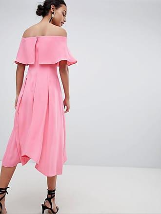 Ela - Mittellanges%2c weiches Brautjungfernkleid mit Bardot-Ausschnitt - Rosa Coast WWJllH