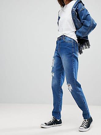Core - Mom-Jeans im Destroyed-Look - Blau Kubban Tall ZjOtAyYs5l