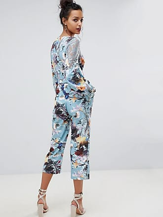 Geblümter Jumpsuit mit Wickeldesign vorn - Mehrfarbig Little Mistress O97INC