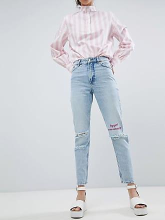 Kimomo - Jeans mit aufgerissenen Knien und aufgesticktem Slogan - Blau Monki G1nPpAj5