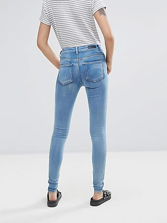 Jute - Enge Jeans mit mittelhohem Bund - Blau Pieces WH1jy