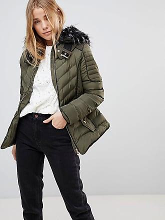 Wattierter Mantel mit kunstfellbesetzter Kapuze - Schwarz Qed London XYTnO