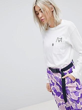 RIPNDIP - Legeres%2c langärmliges T-Shirt mit Tasche%2c aufgedruckter böser Katze und bedruckten Ärmeln - Weiß Ripndip 5eIlflf4j