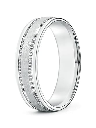 Angara Mens Comfort Fit Satin Surface Milgrain Sided Wedding Band