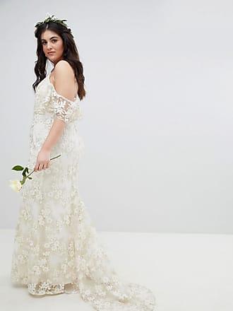 ffc7c7181f7 Asos Curve Vestido de boda largo estilo palabra de honor de encaje floral  de ASOS EDITION