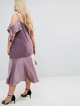 Colourblock Satin Midi Dress with Tie Detail - Mauve Asos Curve