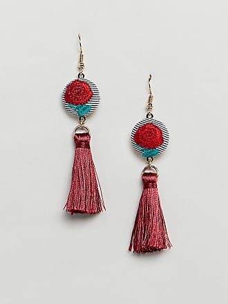 DESIGN statement faux lapis stone and chain tassel earrings - Burnished silver Asos