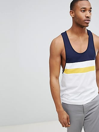 DESIGN extreme racer back vest with bright colour block in white - Multi Asos