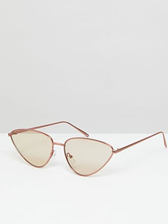 ASOS DESIGN angled cat eye sunglass in clear with red lens - Réinitialiser