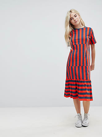 Midi Block Stripe T-Shirt Dress - Multi Asos Curve
