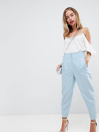ASOS DESIGN Petite tailored casual linen trouser with frill waist - Peach Asos Petite