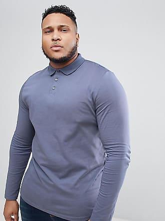 PLUS Long Sleeve Jersey Polo In Blue - Dk denim Asos