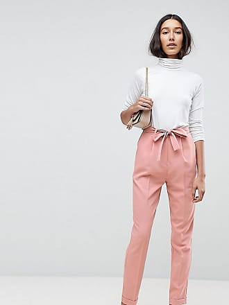 Woven Peg Trousers with OBI Tie - Costmetic nude Asos Tall