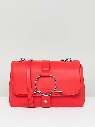 Minimalistische Satteltasche aus Leder mit Nieten - Rosa Asos