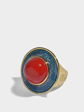 Aurélie Bidermann Elvira Ring in Turquoise Enamel, Coral Resin and 18K Gold-Plated Brass