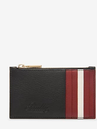 Lettes Black, Womens embossed calf leather card holder in black Bally