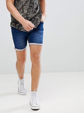 Short ajusté en jean à délavage moyen - BleuBlend