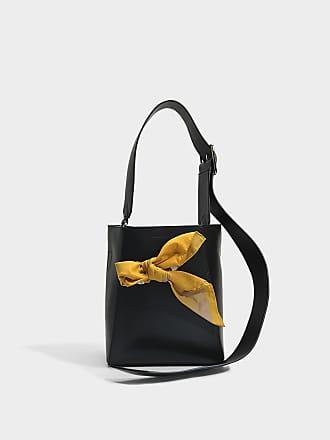 Calvin Klein 205W39NYC Sac Seau Short Fringe Bucket en Cuir de Veau Noir