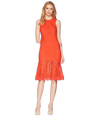 Donna Morgan Sleeveless Eyelet Midi Dress With Flounce Skirt Tomato Red Womens