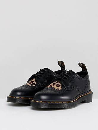 Joyce Flat Lace Up Shoes with Leopard Heart - Black polished smoot Dr. Martens
