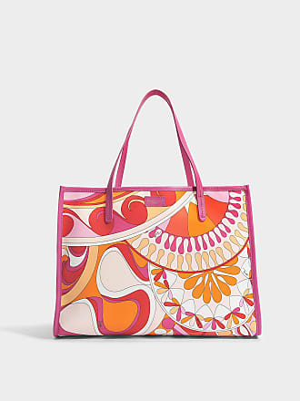 Emilio Pucci Sac Big Case Capri en Nylon Imprimé Orange