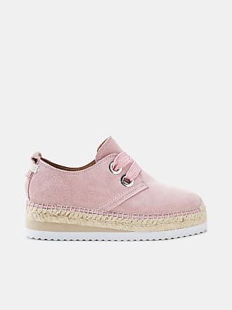 Esprit Plateau-Espadrilles aus Veloursleder für Damen, Größe 37, Pink