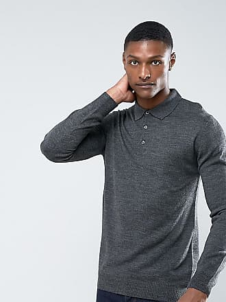 TALL Knitted Long Sleeve Polo - Grey French Connection
