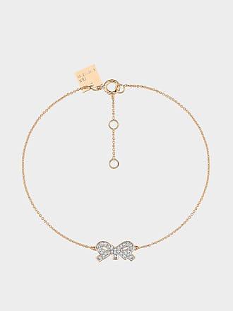 Ginette NY Tiny Diamond Bow Bracelet in 18K Rose Gold and Diamonds
