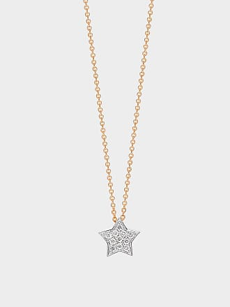 Ginette NY Tiny Diamond Star Necklace in 18K Rose Gold and Diamonds