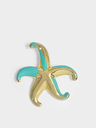 Star Earrings in Gold and Turquoise Metal Giorgio Armani