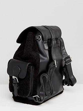 Schwarzer Rucksack mit Tasche aus Lamfell - Schwarz Glamorous