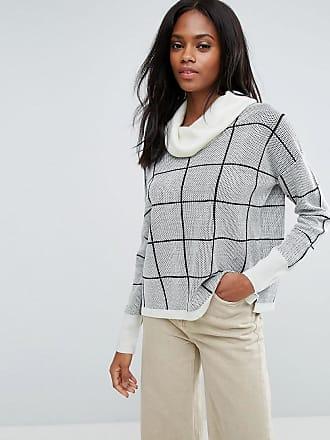 Gros pull col roulé en laine mélangée à carreaux - BlancH. One