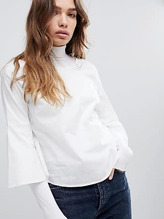 Stella Flared Sleeve Blouse - White Jacqueline de Yong