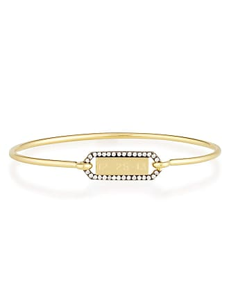 Jemma Wynne Personalized Prive Rectangle Bangle with Blackened Diamond Border in 18K Gold