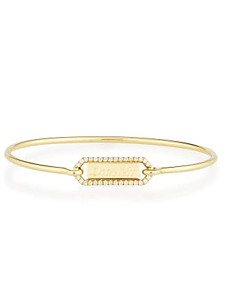 Jemma Wynne Personalized Prive Rectangle Bangle with Rubies in 18K Rose Gold