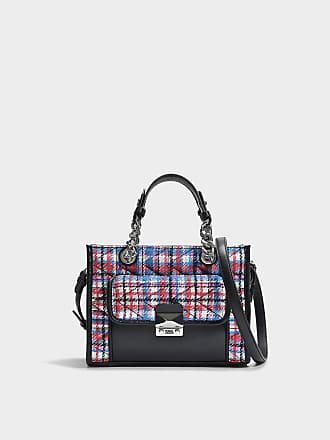 K/Kuilted Tweed Effect Raffia Mini Tote Bag in Multicolour Calf and Raffia Karl Lagerfeld